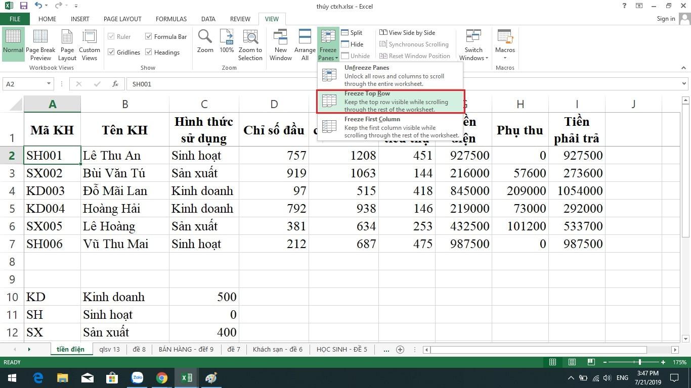 cố định dòng trong Excel