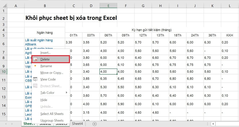 Khôi phục sheet bị xóa trong Excel